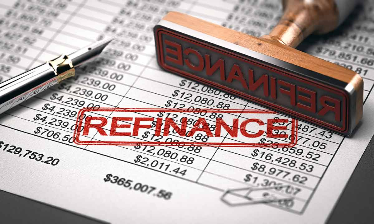 Refinance stamped on document